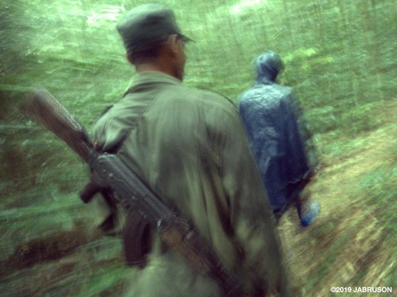 A wildlife ranger wearing a long gun follows a bonobo tracker in a forest during a rainstorm